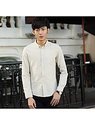 Hombre Simple Casual/Diario Otoño Camisa,Escote Chino Un Color Manga Larga Algodón Azul / Marrón Medio