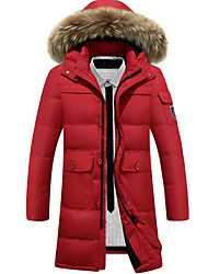 Men's Down Coat,Simple Plus Size / Casual/Daily Solid-Polyester White Goose Down Long Sleeve Blue / Red / Black / Brown / Green