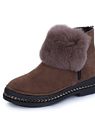 Women's Boots Spring / Fall / Winter Others Leather Casual Flat Heel Fur / Hook & Loop Black / Brown Others