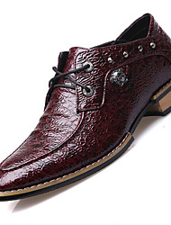 Men's Oxfords Fall Rubber PU Office & Career Casual Low Heel
