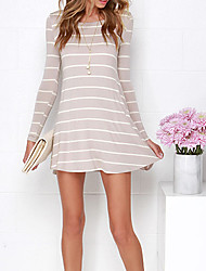 Women's Backless Casual/Daily Simple A Line DressStriped Round Neck Above Knee Long Sleeve Pink / White Cotton Fall
