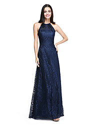A-Line Halter Floor Length Lace Bridesmaid Dress with Pleats by LAN TING BRIDE®