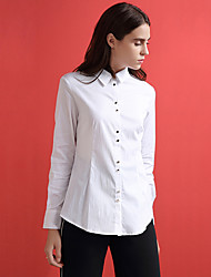 ARKMIIDO Women's Formal Simple All Seasons ShirtSolid Shirt Collar Long Sleeve White Cotton / Nylon Medium