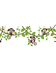 Mignon petit singe vert feuilles branches autocollants muraux animaux drôles décalques muraux pour chambre pour enfants