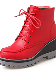 Women's Boots Winter Motorcycle Boots / Bootie Dress Wedge Heel Lace-up Black / Red Others