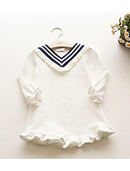 Girl's Casual/Daily Solid DressCotton Fall Pink / White