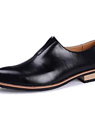 Men's Loafers & Slip-Ons Spring / Fall Comfort PU Casual Flat Heel Slip-on Black / Yellow / Red Sneaker