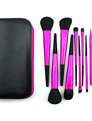 11 Makeup Brushes Set Goat Hair Professional / Portable Metal Handle Face/Eye / Lip Rose Red