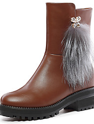 Women's Boots Winter Fashion Boots Leatherette Office & Career / Dress / Casual Low Heel Others Black / Brown Others