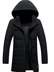 Men's Regular Down Coat,Simple Casual/Daily Solid-Polyester White Duck Down Long Sleeve Standing Collar