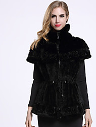 BF-Fur Style Women's Casual/Daily Sophisticated Fur CoatSolid Turtleneck Short Sleeve Winter Black Others