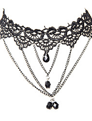 Vintage Gothic Jewelry Black Lace 4 Multilayer Pendants Tattoo Choker Necklace for Women Girls Teens