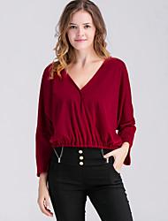Tee-shirt Femme,Couleur Pleine / Rayé Décontracté / Quotidien simple Printemps / Automne Manches Longues V Profond Rouge / GrisRayonne /
