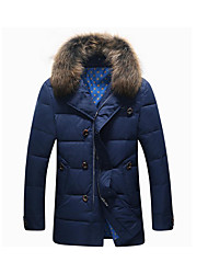 Men's Regular Down Coat,Simple Casual/Daily Solid-Polyester White Duck Down Long Sleeve Blue
