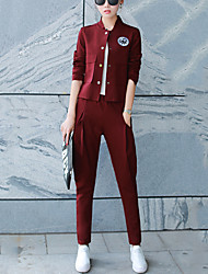 Women's Casual/Daily Vintage Fall Set Pant Suits,Solid Crew Neck Long Sleeve Red / Gray Polyester Medium