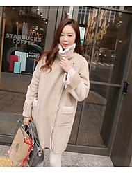 Feminino Casaco Casual / Tamanhos Grandes Simples Outono / Inverno,Sólido Bege Pêlo de Cordeiro Colarinho de Camisa-Manga Longa Média