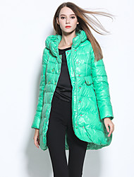 Women's Regular Down Coat,Street chic Casual/Daily Solid-Nylon White Duck Down Long Sleeve Hooded Blue / Red / White / Green