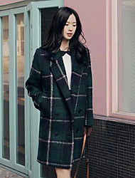 Women's Casual/Daily Simple Coat,Plaid Long Sleeve Green Polyester
