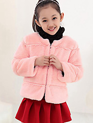 Girl's Casual/Daily Solid Down & Cotton Padded,Polyester Winter / Spring / Fall Pink / White