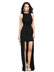 TS Couture Prom Formal Evening Dress - Little Black Dress Sheath / Column Jewel Asymmetrical Jersey with Split Front