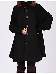 Women's Casual/Daily Simple Coat,Solid Long Sleeve Black Cotton