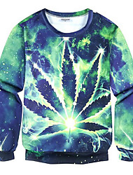 Men's Print Casual / Plus Size SweatshirtPolyester Long Sleeve Green
