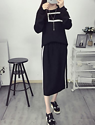Women's Going out Simple Summer Set Skirt Suits,Solid / Geometric Round Neck Long Sleeve Red / Black Cotton Opaque