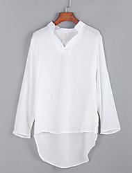Women's Fall BlouseSolid / Letter Shirt Collar Long Sleeve Blue / WhitePolyester Medium