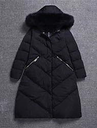 Women's Long Down Coat,Simple Going out Solid-Cotton Polypropylene Long Sleeve Hooded Black / Green