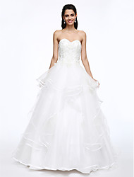 LAN TING BRIDE Ball Gown Wedding Dress Beautiful Back Court Train Sweetheart Tulle with Appliques Beading Button