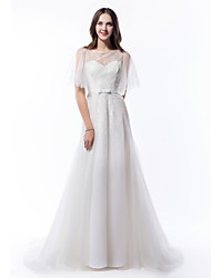 Lanting Bride® A-line Wedding Dress Court Train Scoop Tulle with Bow / Beading / Button