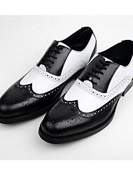 Men's Oxfords Fall Comfort Leather Synthetic Wedding Office & Career Casual Party & Evening Low Heel Black Brown