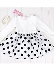 Girl's Going out Polka Dot DressCotton Spring / Fall Black / White