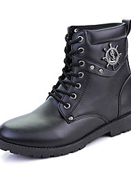 Men's Fashion Boots High Top Shoes Winter Motorcycle Boots Flat Heel Lace-up Black / Brown Walking EU39-43