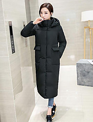Women's Long Padded Coat,Simple Casual/Daily Solid-Cotton Cotton Long Sleeve Pink / Black / Green