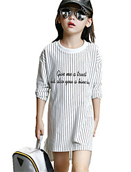 Girl's Casual/Daily Asymmetrical Striped Long Sleeve Loose Dress
