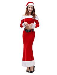 Costume de Soirée Costumes de père noël Fête / Célébration Déguisement Halloween Rouge Couleur Pleine Haut / Jupe / Ceinture / Chapeau