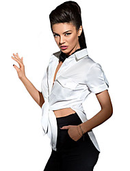 Women's White Button Up Side Slit Short Sleeve Shirt