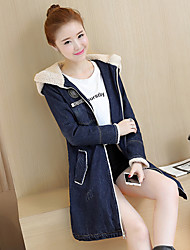 Sign Korean Slim and long sections padded cotton denim letters hooded windbreaker jacket thick sherpa