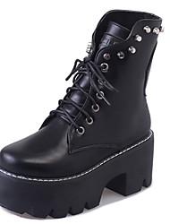 Women's Boots Winter Platform PU Casual Wedge Heel Black