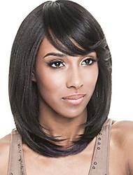 style court de couleur noire perruques synthétiques droites pour les femmes