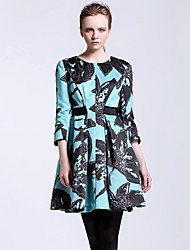 CARBAMMI  Women's Going out Chinoiserie A Line DressFloral Round Neck Above Knee  Sleeve Blue Polyester Fall