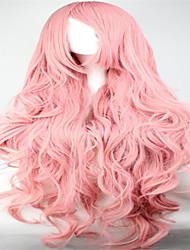 comprimento de turismo cabelo encaracolado pink anime peruca cosplay