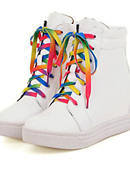 Women's Boots Spring / Fall / Winter Fashion Boots / Combat Boots Leatherette/ Casual Flat Heel Lace-up Black / White