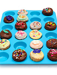24 cavidade do molde bandeja de molde bolinho de silicone muffin de chocolate cupcake assadeira cor aleatória