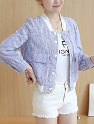 Women's Casual/Daily Simple / Active Fall / Winter Jackets,Striped Round Neck Long Sleeve Blue / Pink / Black Polyester Medium