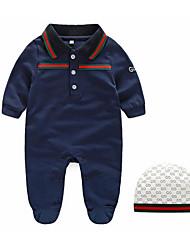 малыш Набор одежды-На каждый день,Однотонный,Хлопок,Весна / Осень-Синий / Белый