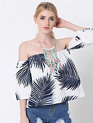 Tee-shirt Femme,Imprimé Sortie / Décontracté / Quotidien simple Eté Manches ¾ Bateau Bleu / Vert Coton / Polyester Fin
