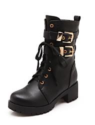Women's Low-top Zipper Soft Material Kitten-Heels Closed Round Toe Boots