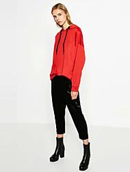 Mulheres Calças Simples Chinos Cashmere Micro-Elástica Mulheres